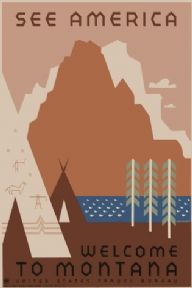 Vintage Travel Poster See America Montana
